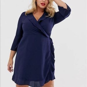 Outrageous Fortune Ruffle Wrap Dress Fluted Sleeve